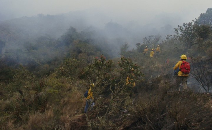 "A photo captioned ""fires brought under control in four nature reserves"", posted by SERNANP on 24 November 2016."