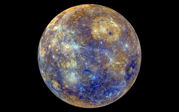 Images from NASA's Messenger reveal Mercury - not as it would appear to the human eye, but with colours used to show chemical and physical differences. Young craters appear fresh blue or white; tan areas are plains formed by liquid lava.