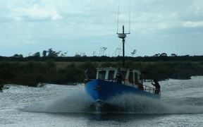 The Francie, a fishing charter vessel thought to have got into trouble on the Kaipara Harbour.