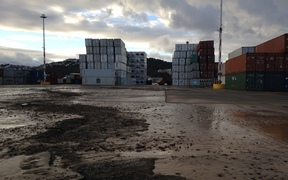 Liquefaction at Wellington port's container terminal.