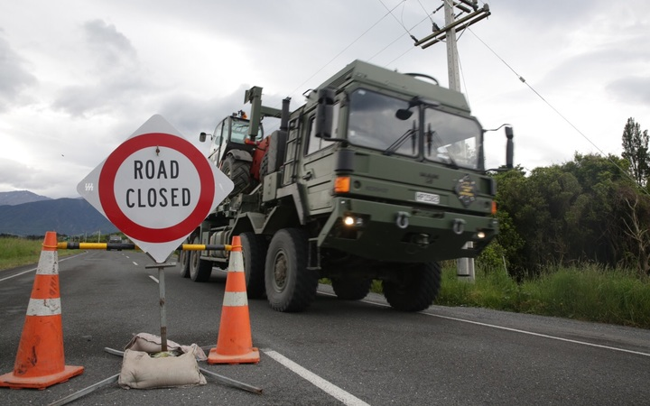 A military vehicle coming through the inland route towards Kaikoura.