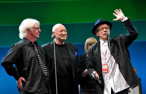 The surviving members of Ray Columbus And The Invaders are inducted into the New Zealand Music Hall of Fame at Vector Arena in 2009. Dinah Lee stands behind Dave Russell, Billy Kristian and Ray Columbus.