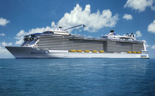 An artist's impression of 'Ovation of the Seas', which is being built in Germany.