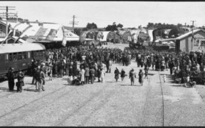 Arrival of the first passenger train to Kaikoura in 1945