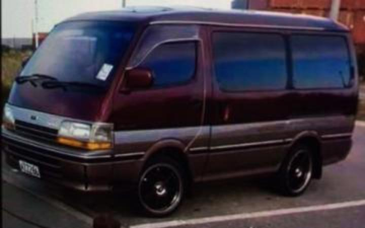 Nicole Brown's maroon and silver Toyota Hiace van
