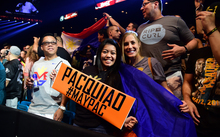 Boxing fans show their support ahead of the weigh-in for the so-called Fight of the Century.