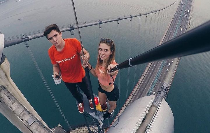 Angela Nikolau on Tsing Ma bridge Hong Kong (Instagram)