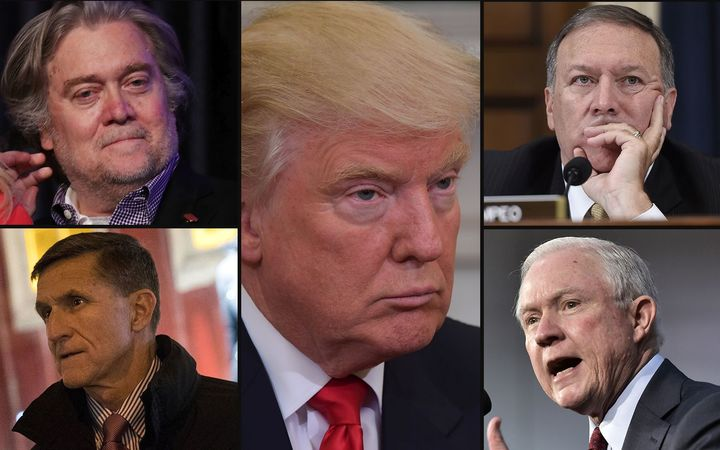 Donald Trump (centre) and some of the men expected to take up high-powered positions in his government (clockwise from top left) Steve Bannon, Mike Pompeo, Jeff Sessions and Mike Flynn.