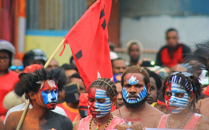 In Jayapura region on June 15, 2016, West Papuans demonstrated their support for an independence referendum.