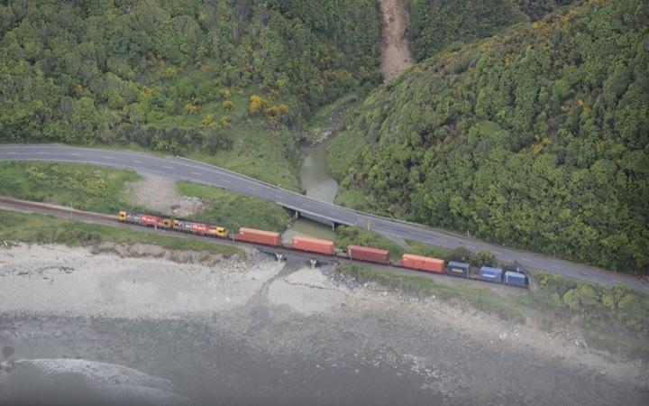 A Kiwirail train is seen on the Kaikoura Coast after yesterday's earthquake.