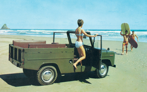 New Zealand's first lifestyle vehicle - a publicity shot at Muriwai Beach.