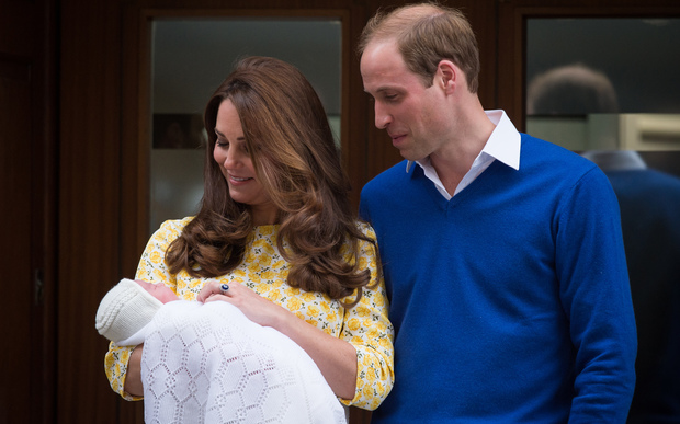 The Duke and Duchess of Cambridge show their newly-born daughter to the media outside the Lindo Wing at St Mary's Hospital in central London.