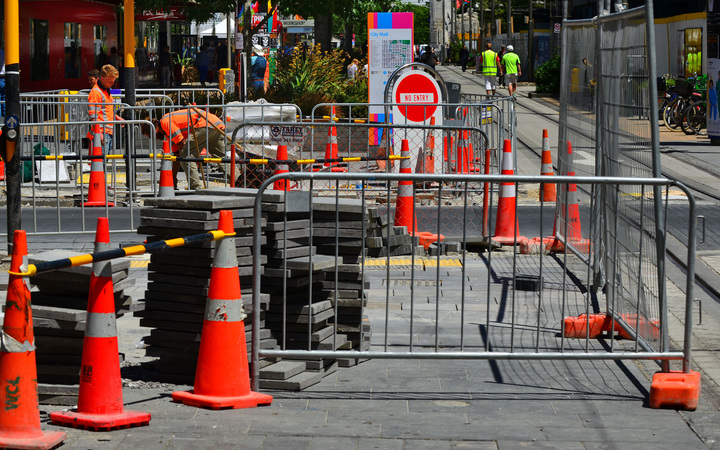 Road cones in Christchurch in December 2015.