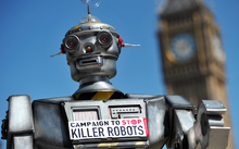 A mock killer robot during the launch of the Campaign to Stop Killer Robots in London in April 2013.