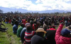 West Papuans show solidarity at a prayer event at Sinapuk Stadium in Wamena.
