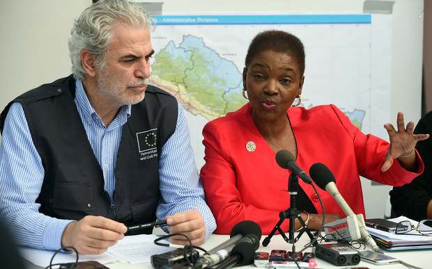 EU commissioner Christos Stylianides (L) watches as UN's Valerie Amos addresses the media at the UN's headquarters in Kathmandu on 1 May.