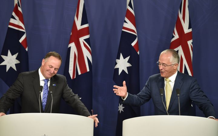Australia's Prime Minister Malcolm Turnbull (R) and New Zealand Prime Minister John Key (L) hold a joint press conference in Sydney on February 19, 2016.