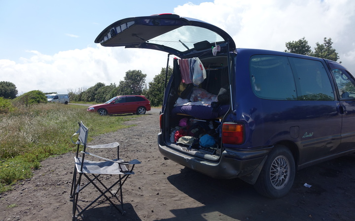 Freedom campers at the South Taranaki break at Paroa Road.