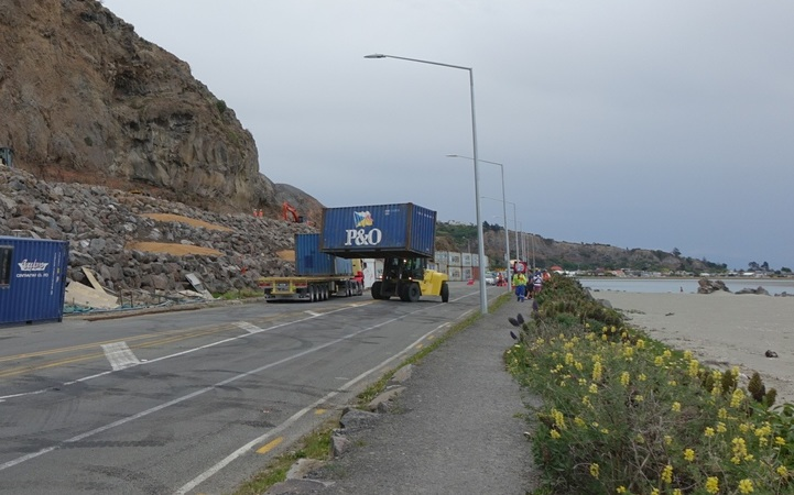 Shipping containers removed from Sumner, Christchurch