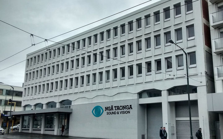 The Ngā Taonga Sound & Vision building on Taranaki Street in Wellington.