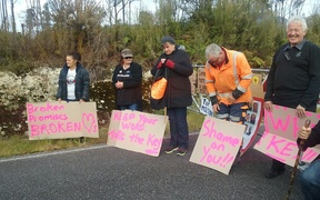 Families of the Pike River dead protest at the sealing of the mine