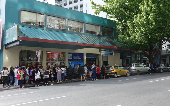 The queue outside Auckland City Mission for the first day of the Christmas foodbank service.
