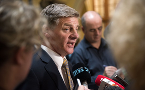 Bill English speaking to media on 5 December, after PM John Key's resignation.