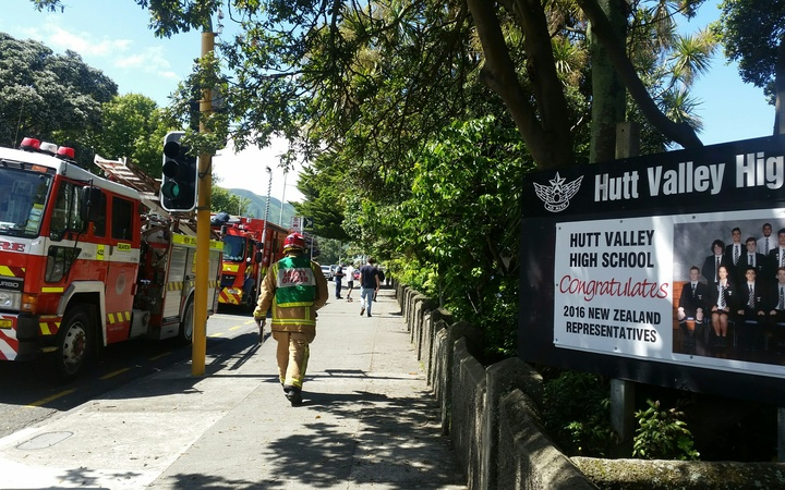 Firefighters attend a fire at Hutt Valley High School.