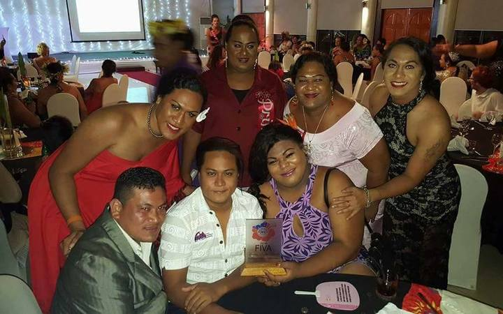 Guests pose during the Samoa Fa'afafine Association's(SFA) Fa'afafine Industry Variety Awards (FIVA) held on Friday 09-12-2016.