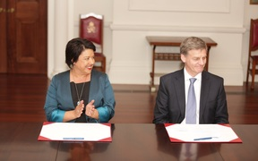 Deputy Prime Minister Paula Bennett and Prime Minister Bill English, who were officially appointed this afternoon.