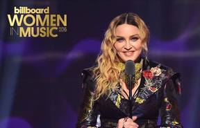 Madonna delivering her acceptance speech at the 2016 Billboard awards