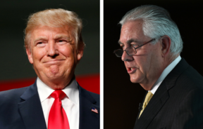 US President-elect Donald Trump and chief executive of Exxon Mobil, Rex Tillerson who has been nomiated as secretary of state.