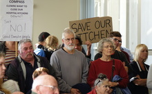 About 100 people gathered in the public gallery to oppose the hospital kitchen outsourcing.