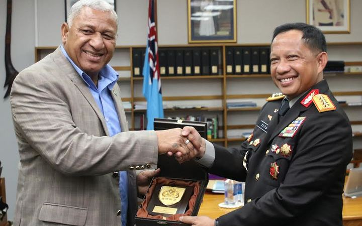 Fiji Prime Minister Frank Bainimarama and Chief of Indonesian National Police, Police General Tito Karnavian