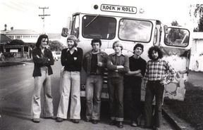 Rough Justice on their first trip to Auckland in 1977. Left to right: Steve Jessup, Peter Kennedy, Rick Bryant, Simon Page, Nick Bollinger, Martin Highland -