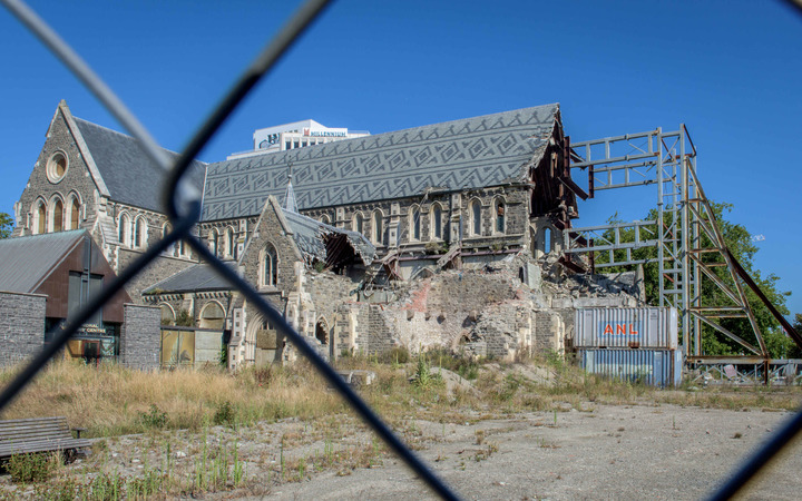 February 14, 2016 - ChristChurch Cathedral which was damaged in the earthquakes of 2011 is seen behind a fence.