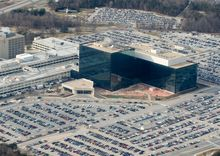 The National Security Agency (NSA) headquarters at Fort Meade, Maryland, as seen from the air.