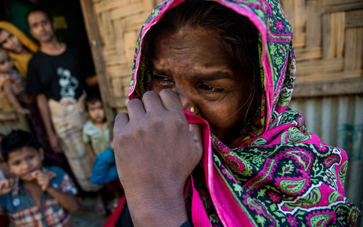 Jahra Khatun, 45, pictured at a Rohingya camp in Bangladesh, says her son was killed by the military on 8 December 2016.