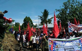 Demonstrators march in Timika in West Papua.