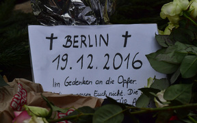 A memorial in Berlin after a truck ploughed into a crowd near a Christmas market.
