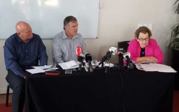 Dame Margaret Bazley, right, announces her findings after reviewing Welington Rugby's handling of the Losi Filipo case. WRFU chief executive Steve Rogers sits on the left and WRFU chairman Iain Potter is centre.