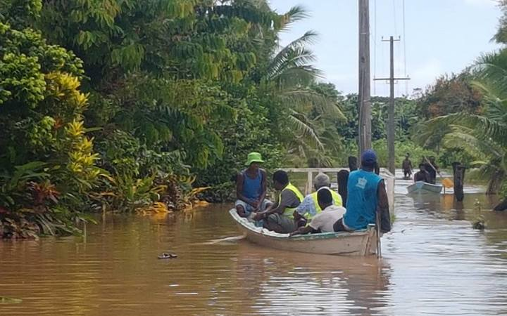 Waivou village, in Rewa Province, Fiji was flooded for a week.aduring floods in December 2016. A Fiji Red Cross team is seen here helping to assess the village's needs.