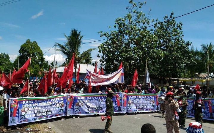Demonstrators in Timika, West Papua.