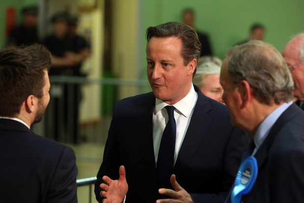 David Cameron talks to supporters at his Oxfordshire constituency.