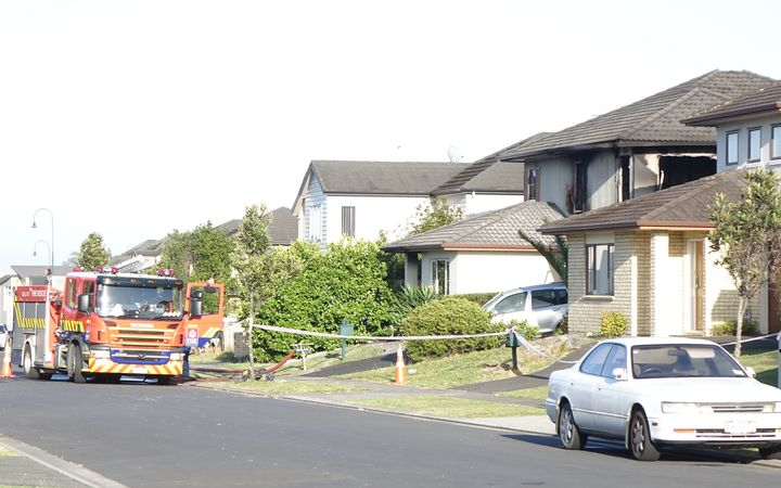 The scene of the fatal fire in Flatbush in Auckland, which claimed three lives.