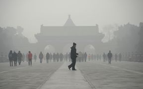 Heavy smog in the centre of Beijing.
