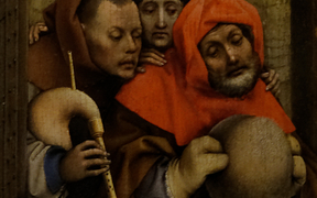The shepherds. Detail from Nativity by Robert Campin (1420)