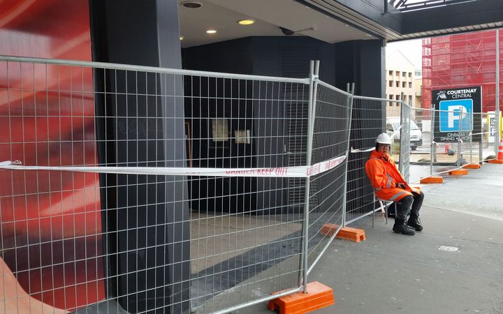 The cordon around the quake-damaged Reading cinema carpark in central Wellington.