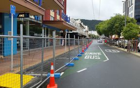 The cordon around the quake-damaged Reading Cinemas carpark in central wellington.