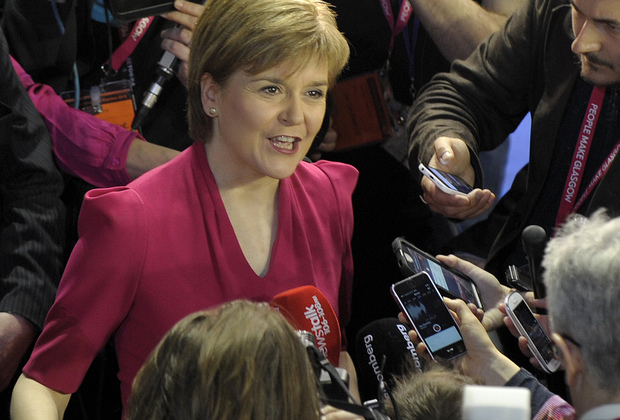 Scottish National Party (SNP) leader Nicola Sturgeon speaks to the media after the election results in Glasglow.